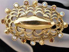 Vintage Brooch Oscar de La Renta AB Rhinestone Topaz Signed Oval Gold Pin   eBay