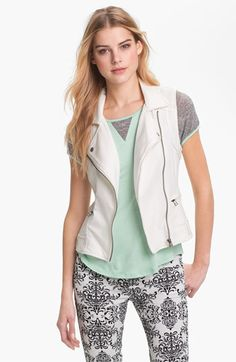 KUT from the Kloth Stretch Cotton Moto Vest available at Nordstrom--In white