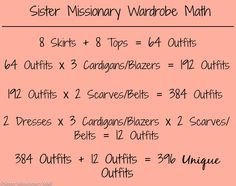 Need help planning your Mission wardrobe? We are here to help! See how we took 24 pieces from our store and made 414 different outfits!