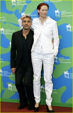 "George & Tilda clownin' at the 64th Annual Venice Film Festival promoting ""Michael Clayton""."