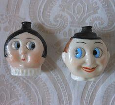 Pair of German Googly Eye Perfume Flasks by Hertwig, circa the 1920s.