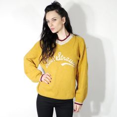 Vintage Levi's Yellow Knit V Neck Embroidered Unisex Sweater  by Ramaci