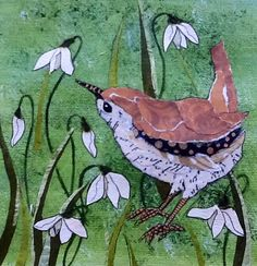 Wren amongst the snowdrops by Christine Davies Botanical Illustration, Illustration Art, First Flowers Of Spring, Scientific Drawing, All Kinds Of Everything, Paper Collage Art, Bird Drawings, Art For Art Sake, Painted Paper