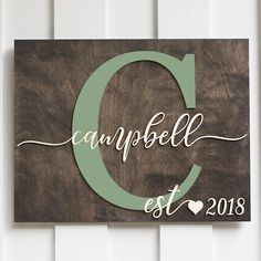Personalized Sign, Campbell Design, Custom wood sign, rustic, name sign – GiftedOccasion.com