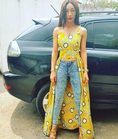 We love how Leslie Okoye paired her ankara crop top with denim jeans. by zegist