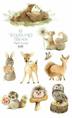 Animals Watercolor, Watercolor Clipart, Watercolor Art, Watercolor Illustration Children, Woodland Illustration, Rabbit Illustration, Forest Animals, Woodland Animals, Cute Drawings