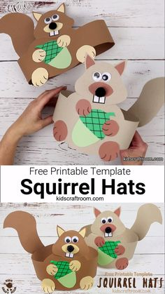 animal crafts This free printable Squirrel Hat Craft is adorable! Print the template to make your own cute paper squirrel headbands. Such a fun Autumn craft for kids. Forest Animal Crafts, Forest Crafts, Animal Crafts For Kids, Summer Crafts For Toddlers, Camping Crafts For Kids, Toddler Crafts, Kindergarten Crafts, Preschool Crafts, Kids Crafts