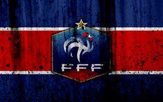 Download wallpapers France national football team, 4k, logo, FFF, grunge, Europe, football, stone texture, soccer, France, European national teams