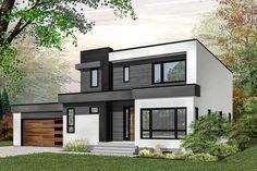 Simple and Modern Ideas: Contemporary House Exterior contemporary farmhouse flooring. Bungalow House Design, House Front Design, Small House Design, Modern House Design, Family House Plans, Modern House Plans, House Floor Plans, Modern Exterior, Exterior Design