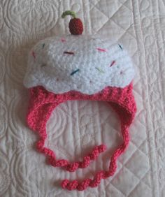Crochet Cupcake Hat with Cherry on Top, Teen and Adult Sizes, Pink and White with Sprinkles