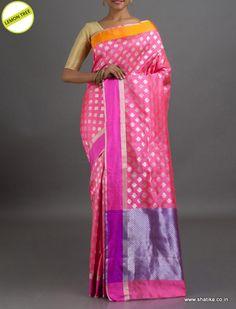 Lemon Tree Designer Pink and Silver #ChanderiSilkSaree