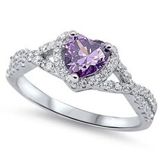 Heart Purple Simulated Amethyst Halo Ring .925 Sterling Silver Infinity Knot Size 10