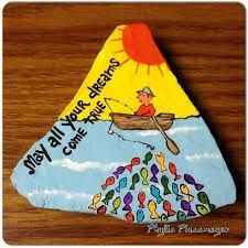 Image result for birthday cake painted rock