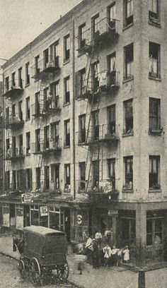 """NEW BUILDINGS ONLY: Tenement House Law of 1901 - for new buildings, all halls and rooms had to have light and air and """"Privacy is secured by requiring individual sanitary accommodations for each family"""" - A euphemism for a private toilet. 2  The Tenement House Law of 1901 could not necessitate that all 80,000 old tenement buildings be torn down but did require improvements - halls be lighted and ventilated, every family had to have a fire escape and """"decent sanitation facilities. [Maggie Black]"""