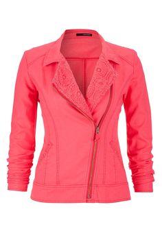 Love this vibrant coral moto jacket!