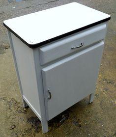 Retro vintage enamel top kitchen cupboard cabinet larder for White enamel kitchen cabinets
