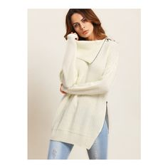 SheIn(sheinside) Beige Lapel Zipper Split Side Long Sleeve Sweater ($29) ❤ liked on Polyvore featuring tops, sweaters, beige, long sleeve sweater, long sweaters, white pullover sweater, embellished sweaters and acrylic sweater