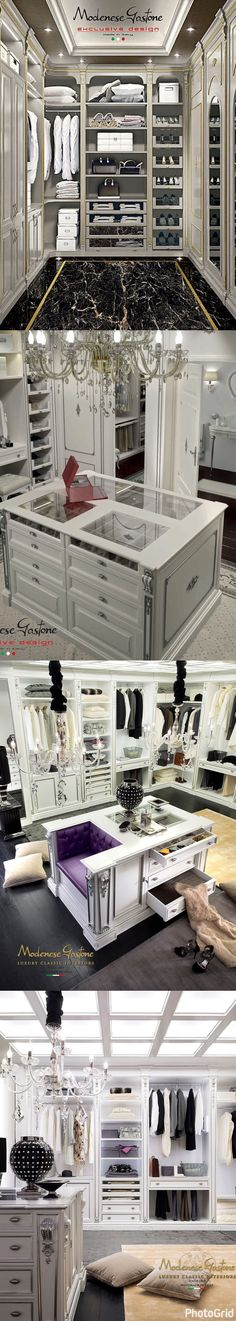 Modenese Gastone has designed different types of walk-in closets to suit all kind of luxury interiors, as inspiring proposals for all bespoke luxurious furnishings. Luxury walk-in closets come from modern style conception, which have been boosted by Modenese Gastone through elegant carvings, gold and silver leaf finishes and straight but classic lines.#Luxurydotcom