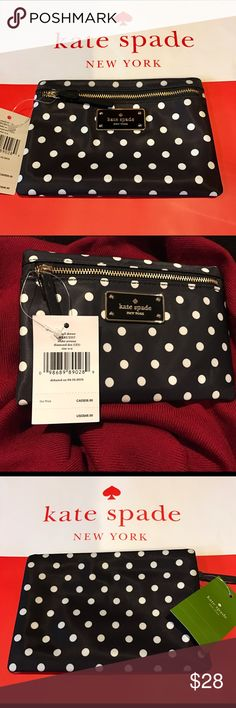 """NWT Kate Spade Wallet Small Drewe Blake Avenue $48 NWT Kate Spade Small Drewe Blake Ave Diamond Dot Pouch WLRU2357  100% AUTHENTIC Retail Price: $48Black and White Dots/Black lining NylonGold tone hardware Signature custom woven fabric lining Front Zip closure Kate Spade logo plaque on frontMeasurements approximately: 6 1/2"""" (Length) x 4 1/2"""" (Height)                   💕💕❤💕Tags: kate spade wallet wristlet Kate spade Crossbody bag  spade handbag kate spade floral bags designer bags…"""