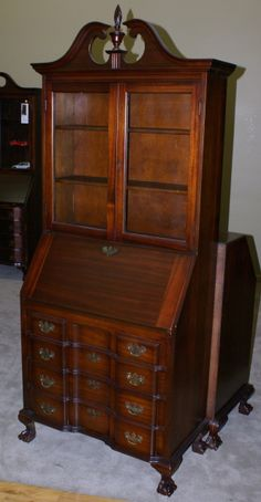 english slant front desk completed furniture desks secretaries | front mahogany secretary antique mahogany secretary bookcase with drop ...