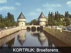 Broeltorens Kortrijk., zoals het er nu utziet, met aan de rechtse kant de hoge school.