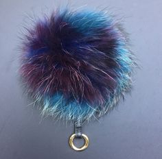 NEW Collection Dimensional Swirl™ Multi Color Raccoon Fur Pom Pom bag charm clover flower charm keychain piece no.295 - $30.60 USD