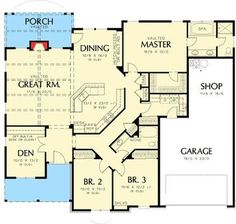 One-Story Plan with 2 Car Garage. House Plan The Blackburn is a 2013 SqFt Craftsman, Farmhouse, and Ranch style home floor plan featuring amenities like Den, Shop, and Walk-In Pantry by Alan Mascord Design Associates Inc. House Plans One Story, Ranch House Plans, Best House Plans, Dream House Plans, Story House, Small House Plans, House Floor Plans, Single Story Homes, One Story Homes