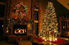 Love the cozy feel of this room and what a beautiful  Christmas Tree