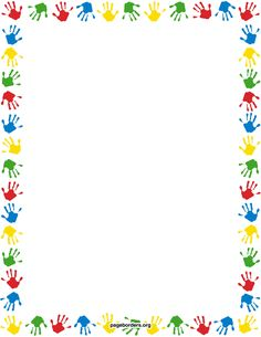 Free handprint border templates including printable border paper and clip art versions. Vector images are also available. Printable Border, Printable Paper, Printable Labels, Borders For Paper, Borders And Frames, Page Boarders, School Border, Diy And Crafts, Crafts For Kids
