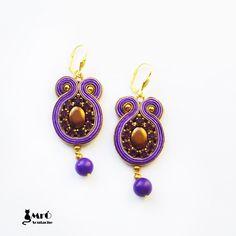 Violet and gold-soutache earrings por MrOsOutache