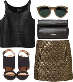 """metallic gold"" by rosiee22 ❤ liked on Polyvore"