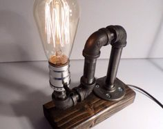 Classic Style Edison Bulb table lamp in Weathered - Antiqued finished wood base - Steam punk style light - New york loft industrial style