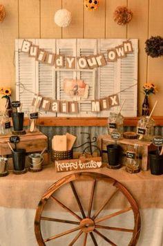 rustic country burlap trail mix wedding bar ideas