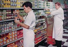 Stocking the shelves, c. 1960s  (federal min wages for California)  Minimum wage topped out at $1.00 in the 1950s and that dollar's top value was $5.39  Minimum wage topped out at $1.60 in the 1960s and it's value was $6.84  Minimum wage today, 2012 is $8.00 and its value is $4.97 (with an exception of 10.25 min wage for San Francisco)  Info here: Federal Minimum Wages from 1955-2012