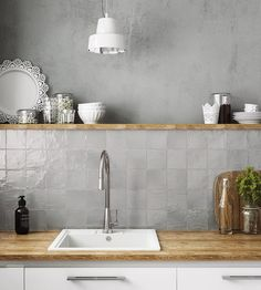 Ivy Hill Tile Amagansett Grey 4 in. x 4 in. / box) - - The Home Depot grau Ivy Hill Tile Amagansett Grey 4 in. x 4 in. Grey Backsplash, Kitchen Backsplash, Grey Kitchen Wall Tiles, Grey Tiles, Kitchen With Grey Walls, Kitchen Soffit, Rustic Backsplash, Backsplash Design, Neutral Kitchen