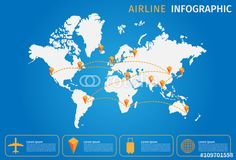 """Download the royalty-free vector """"Airline Vector infographic, World map"""" designed by gritsalak at the lowest price on Fotolia.com. Browse our cheap image bank online to find the perfect stock vector for your marketing projects!"""