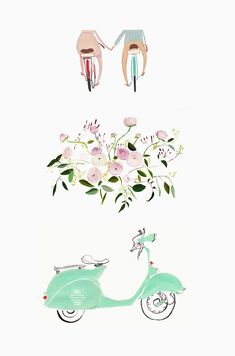 """Too cute! """"The husband and wife duo behind Jolly Edition create such fun and quirky, vintage feeling #illustrations. I like that little #mint #vespa."""" on @hooray's blog."""