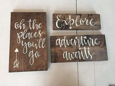 This is a listing for a set of 3 travel themed signs. These are the perfect touch to any baby boy or girls nursery. They can be made in a variety of sizes or colors- options below (espresso stain/ivory lettering shown.) These signs are perfect to stand on their own or hung in a gallery wall. All are sealed with a matte spray and come with saw tooth hanging hardware. Signs can be personalized- message with any requests or questions! Dimensions: Explore- 3.5x12 Adventure Awaits: 5.5 x 12...