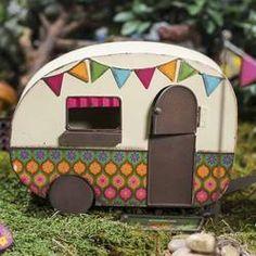 Vintage-Inspired Fairy Garden Camper - Fairy Garden Miniatures - Dollhouse Miniatures - Doll Making Supplies - Craft Supplies