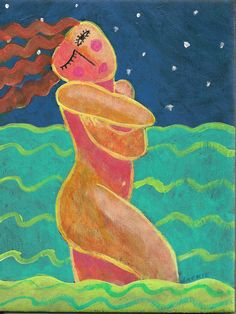 Abstract Nude Figurative Painting of Woman Walking by jackieludtke, $40.00
