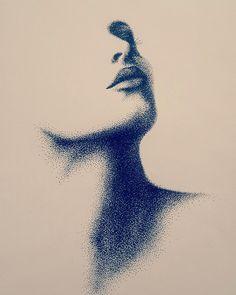 بورتريه - تنقيط بقلم البايلوت #art #artiste #artwork #portrait #womanportrait #woman #womans #femme #femmes #drawings #draw #dessin #dessiner #noire #blanc #artdrawing #artistsomayareyadalaqra