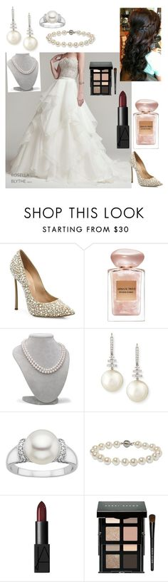 """""""Untitled #936"""" by floridaflower11 ❤ liked on Polyvore featuring Maggie Sottero, Casadei, Giorgio Armani, Belpearl, Annoushka, NARS Cosmetics and Bobbi Brown Cosmetics"""