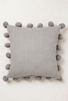 Grey Pom Pom Edge Cushion
