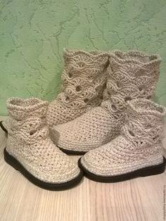 Купить Полусапожки льняные - бежевый, льняная обувь, обувь ручной работы, ажурные сапожки