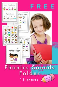 These free phonics sounds charts will help you create a reading sounds reference folder for your children. Phonics Sounds Chart, Phonics Chart, Teaching Phonics, Teaching Language Arts, Blending Sounds, Short Vowel Sounds, Phonological Awareness, Rhyming Words, Letter Sounds