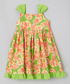 Take a look at the Moo Boo's Lime & Orange Citrus Ruffle Dress - Toddler & Girls on #zulily today!