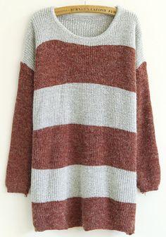 Iron Red Striped Print Round Neck Acrylic Sweater