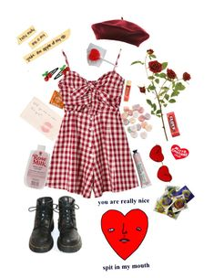 """""""Happy Valentine's Day, Darling."""" by caroline-is-pop-punk ❤ liked on Polyvore featuring Chicnova Fashion, claire's, Dr. Martens, mel, Tuesday Bassen, vintage, indie, 90s, 50s and 60s"""