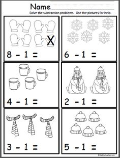 Free winter math subtraction page for Kindergarten and grade. Students practice subtracting one using the pictures for help. Free winter math subtraction page for Kindergarten and grade. Students practice subtracting one using the pictures for help. Kindergarten Addition Worksheets, Subtraction Kindergarten, Addition And Subtraction Worksheets, Subtraction Activities, Kindergarten Math Activities, Preschool Math, Preschool Worksheets, Counting Worksheet, Christmas Math