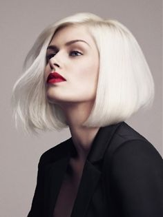 Platinum // Blonde // Blunt Bob // Shoulder Length // Bright // White //